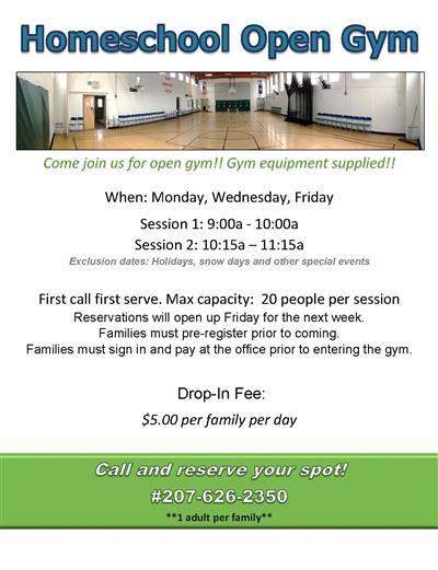homeschool open gym